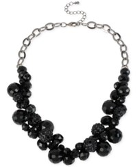 Macy's M. Haskell Hematite Tone Black Faceted Bead Shaky Frontal Necklace