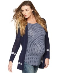 A Pea In The Pod Maternity Striped Cardigan White