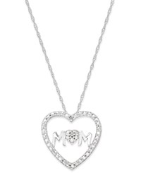 Macy's Diamond Accent Heart Mom Pendant Necklace In 10K White Gold