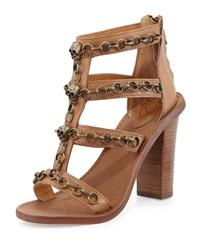 Ash Paradise Leather Skull Chain Sandal New Nude