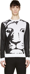 Versus Black And White Lion Sketch Sweater