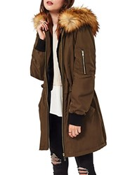 Miss Selfridge Faux Fur Trimmed Hooded Parka Dark Green