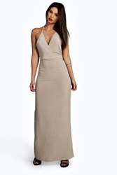 Boohoo Slinky Wrap Front Drape Back Maxi Dress Stone