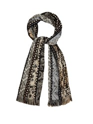 Etro Multi Motif Striped Jacquard Scarf Black Multi