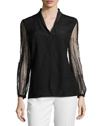 Escada Orly Long Sleeve Lace Blouse Black