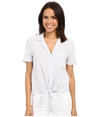 Equipment Short Sleeve Keira Tie Front Bright White Multi Women's Short Sleeve Button Up Yellow