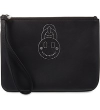 Hill And Friends Happy Mini Leather Wristlet Pouch Liquorice Black