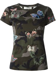 Valentino Butterfly Embroidered T Shirt Green