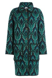 M Missoni Wool Coat With Metallic Thread Green
