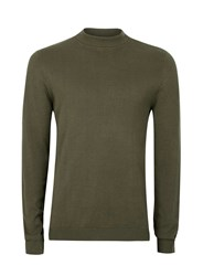 Topman Khaki Mini Roll Neck Jumper Green