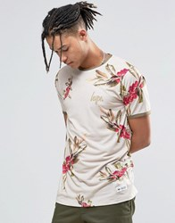 Hype Ringer T Shirt With Floral Print Beige