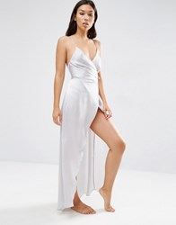 Asos Ruched Side Satin Maxi Slip Silver