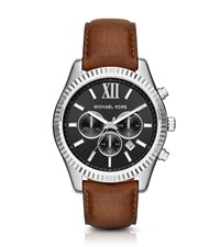 Michael Kors Lexington Silver Tone And Leather Watch
