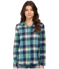 Roxy Campay Long Sleeve Shirt Giant Moon Plaid Combo Green Blue Women's Long Sleeve Button Up Multi