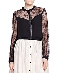 The Kooples Leather And Lace Detail Shirt Black