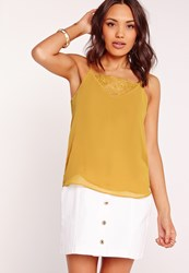 Missguided Lace Trim V Neck Cami Top Green Yellow