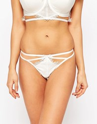 Asos Fuller Bust Bridal Evie Satin And Lace Cut Out Thong Ivory Cream