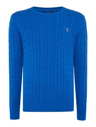 Gant Crew Neck Cable Knit Jumper Bright Blue