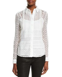 Burberry Multi Lace Button Front Blouse White