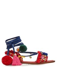 Dolce And Gabbana Pompom Embellished Leather Flat Sandals Red Multi