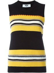 Msgm Striped Knitted Tank Top Black