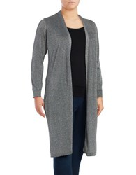 Vince Camuto Plus Side Split Glitter Cardigan Grey