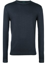Zanone Crew Neck Sweater Blue