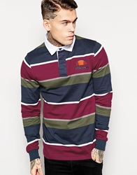 Ellesse Rugby Shirt With Long Sleeves Burgundy