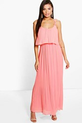 Boohoo Pleated Double Layer Strappy Maxi Dress Blush