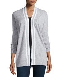 Vince Cashmere Striped Trim Open Cardigan Heather Steel Off White