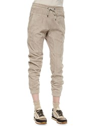Brunello Cucinelli Suede Drawstring Pull On Pants Granite