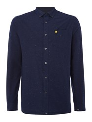 Lyle And Scott Men's Long Sleeve Brushed Fleck Shirt Navy