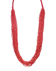 Robert Rose Beaded Statement Necklace Red