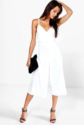 Boohoo Strap Detail Plunge Neck Culotte Jumpsuit Ivory