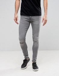 Ringspun Super Skinny Jeans With Knee Rips Grey