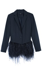 Tibi Cera Tuxedo Feather Trim Blazer