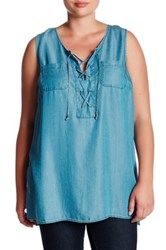 Want And Need Chambray Lace Up Tunic Plus Size Blue