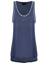 Andrea Bogosian Embroidered Tank Top Blue