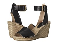 Soludos Open Toe Wedge Leather Black Women's Wedge Shoes