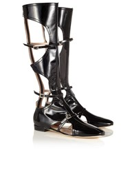 Carven Black Patent Leather Calf High Boots