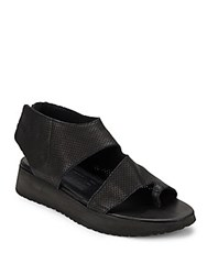 Ld Tuttle Perforated Leather Toe Ring Platform Sandals Black