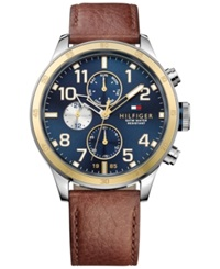 Tommy Hilfiger Men's Brown Leather Strap Watch 46Mm 1791137