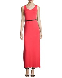 Joan Vass Belted Scoop Neck Tank Maxi Dress Samba Red
