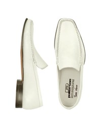 Pakerson White Italian Handmade Leather Loafer Shoes