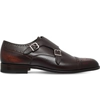 Stemar Double Monk Leather Shoes Brown