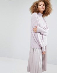 Warehouse Bell Sleeve Mohair Jumper Lilac Purple