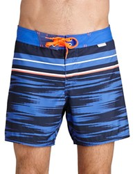Bench Shorefront Striped Swim Trunks Blue