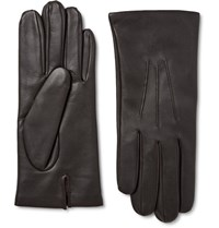 Dents Bath Cashmere Lined Leather Gloves Dark Brown