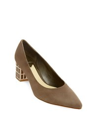 Brian Atwood Karina Embellished Suede Pumps Taupe