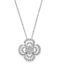 Bloomingdale's Diamond Cluster Clover Pendant Necklace In 14K White Gold .50 Ct. T.W.